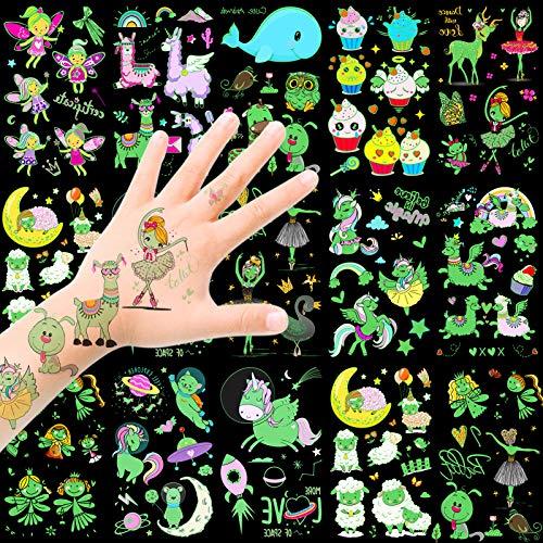 HOWAF Tattoo Kinder, Temporäre Tattoos Set, im Dunkeln leuchten Tattoos Kinder, Einhorn Schmetterling Fee Kindertattoos Aufkleber für mädchen Kinder Spielen Kindergeburtstag Mitgebsel Geschenkidee