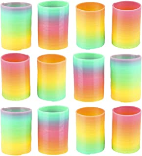 Kicko Plastic Rainbow Springs - 12 Pack - 1.75 Inch Classic Rainbow Twirlers for Class Rewards, Playtime Activity, Pinata ...