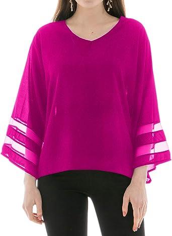 Blusas para Mujer, Escote Pico y Manga Larga Amplia, Camisas ...