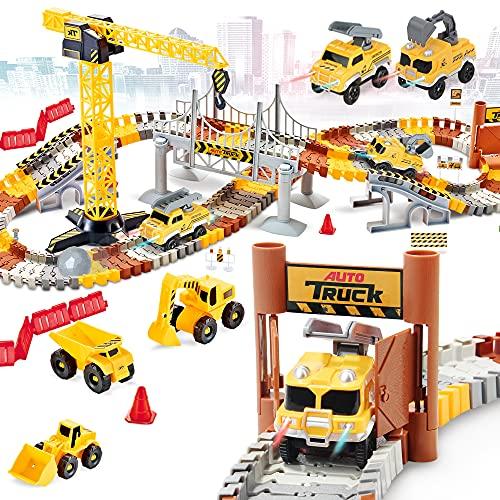 176 PCS Construction Race Tracks Set, Flexible Train Tracks w/ 2 Electric Construction Race Vehicles w/ Lights, STEM Engineering Race Track Toys with Dump Truck, Crane Assort Acessories for Boys Girls