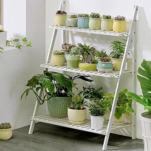 LLLXUHA Plantes en pot Multi-couche Stand de plante, Simple Pliant Multifonction Support de fleurs, intérieur Plantes charnues Présentoir, Espace de rangement livres étagère à livres , Blanc , 70*40*96cm