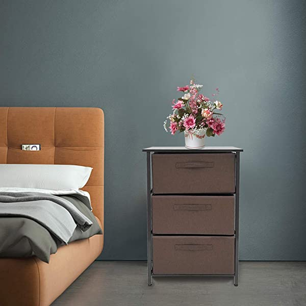 C Easy Bedside Storage Cabinet 3 Tier Vertical Dresser Storage Tower Home Bedroom With Drawer Small Cabinet Modern Minimalist Apartment Hotel Bedside End Table 17 7x11 8x28 7in