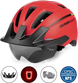 SUNRIMOON Adult Bike Helmet with Rechargeable USB Light, CPSC Certified Road & Mountain Bicycle Helmet with Magnetic Goggles & Detachable Visor Adjustable Size for Men/Women, 22.44-24 Inches
