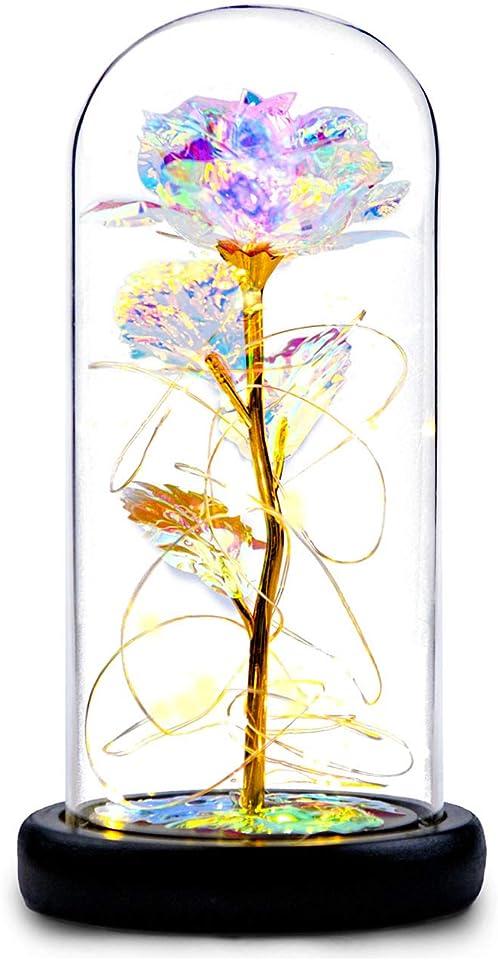 Galaxy Rose Blume Geschenk, Infinity Rose in Glaskuppel, LED-Lichterkette auf der Kristallrose, einzigartiges Geschenk für Frauen, Weihnachten, Hochzeit, Valentinstag, Jahrestag und Geburtstag