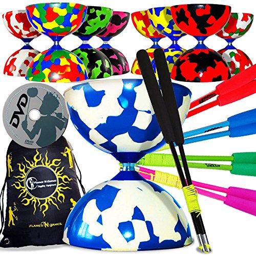 JESTER Pro Diábolo + Colorido Diablo - Varillas de fibra y diábolo + diabolos + bolsa de transporte. Ideal para niños y adultos (amarillo/rojo)