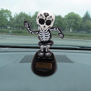 Solar Halloween Skull Dancing Toy, Solar Powered Dancing Halloween Swinging Animated Bobble Dancer Toy Car Decor (D)