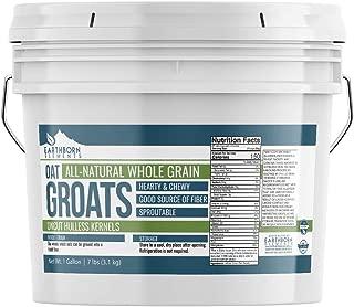 Oat Groats, 1 Gallon Bucket (7 LBS) by Earthborn Elements, & Uncut, Whole & Hulless Oat Kernels, Unprocessed & Untreated, High-in-Fiber, Resealable Bucket