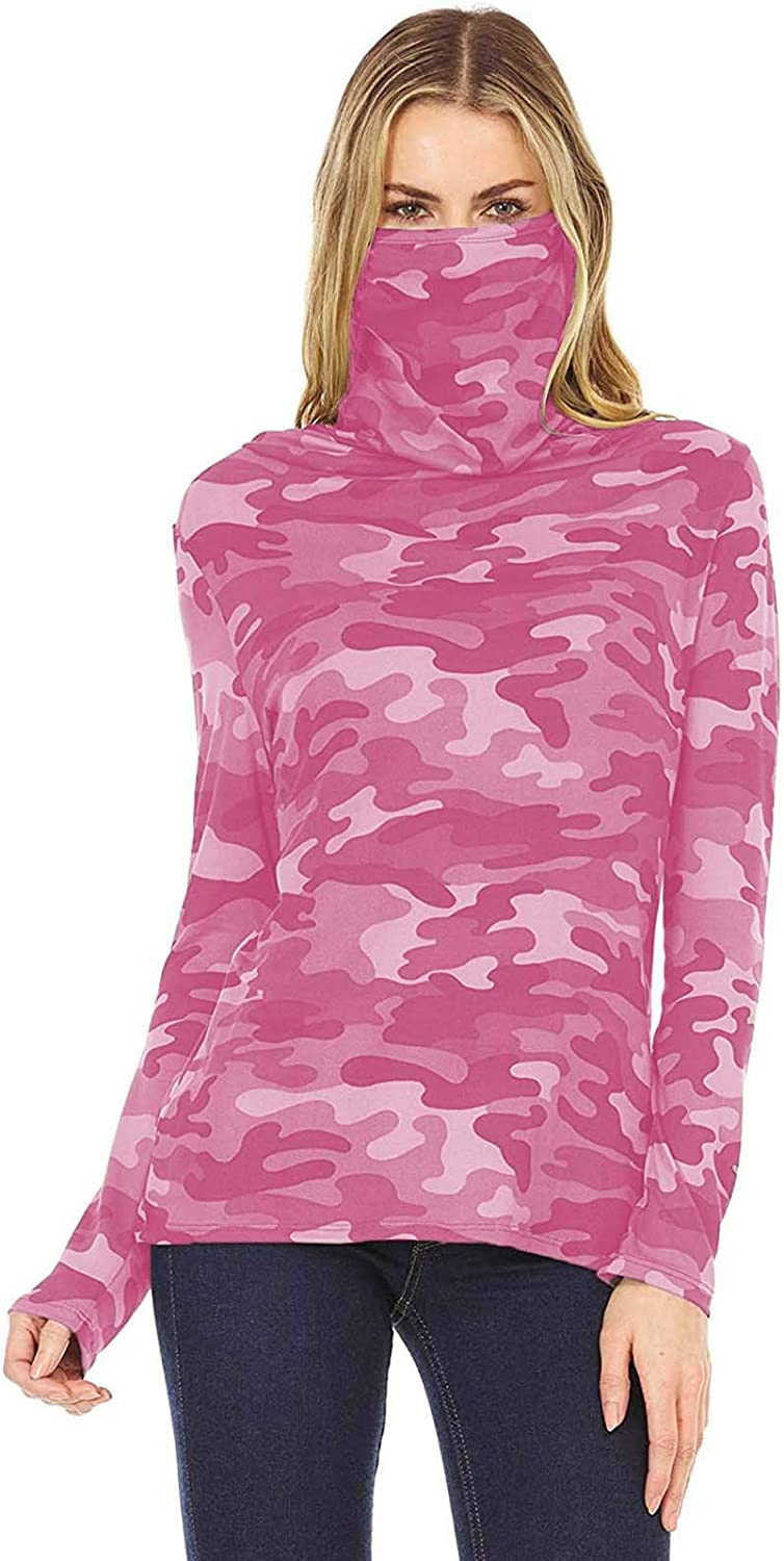 Shirt with Built in Face Mask for Women Long Sleeve Tie Dye Camo Shirts Loose Fit Turtleneck Tunic Top Plus Size S-5XL