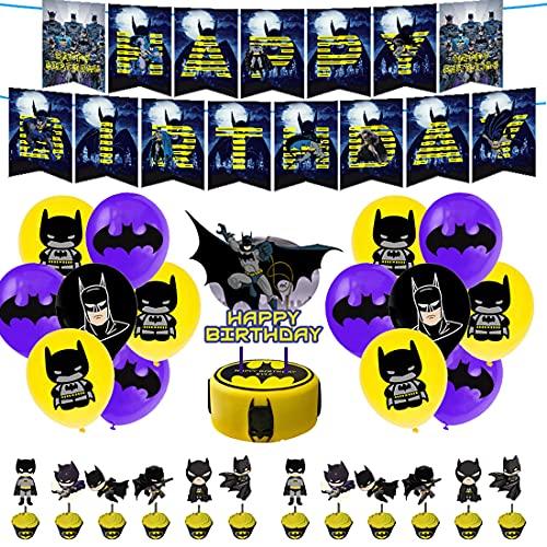 BESTZY Superhéroes Globo Decoraciones de Cumpleaños Avengers Batman Temática Party Incluir Cupcakes Topper Banner Globos Suministros para Fiesta para Niños 32 Piezas