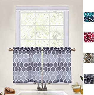 CAROMIO Kitchen Curtains 36 Inch Length, Geometric Moroccan Printed Rod Pocket Tier Curtains for Kitchen Short Cafe Curtains Bathroom Window Curtains, Grey