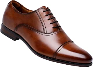 Leather Oxford Dress Shoes for Men Cap Toe Lace up