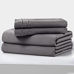 100% Cotton Bed Sheet Set,400 Thread Count Soft & Smooth Long Staple Combed Cotton ,14-Inch Deep Pocket Hotel Quality BedSheets,Wrinkle and Durable-4 Piece(Gray, Queen)