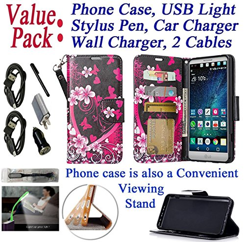 """Value Pack Cables + for 5.7"""" LG V 20 v20 Case Wallet Phone Case Hybrid Fold Kick Stand Pouch Card Pocket Purse Grip Grained Screen Flip Cover (Big Heart)"""
