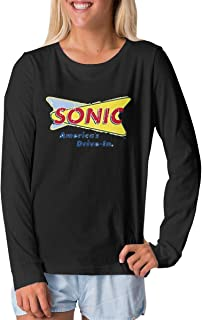 Junior's Sonic Drive-in Fast Food Restaurant Girl's Long Sleeve T-Shirts Black