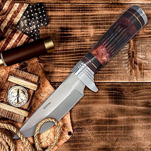 Jagdmesser Survival Messer Edelstahl Klinge , Outdoor Camping Gürtelmesser handgefertigt mit robustem Lederholster