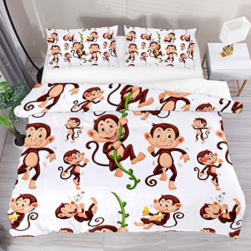 GanLongDian Duvet Cover Set Bedding Quilt Cover for Men Women,Bedding Set Gift,Comforter Cover and Pillowcase,Single Full Double King Size Sock Monkeys