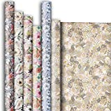 Premium Gift Wrapping Paper Roll Assortment, Floral Designs (6 Rolls)