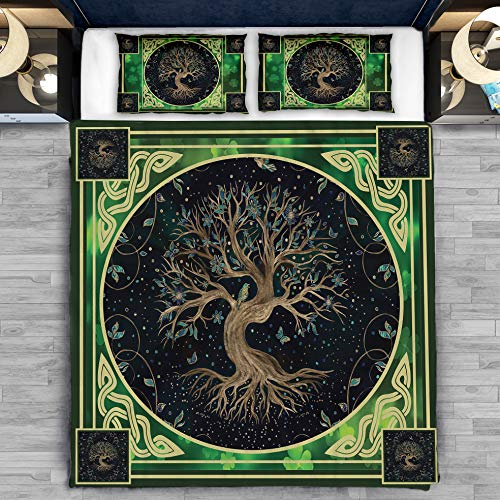 GAMUDA Irish Celtic Tree of Life Bedding Set Pillow Cover Duvet Cover 3 Pieces Full Size Twin Full Queen King