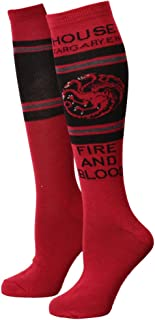 Game of Thrones Knee High Socks Red Black Fire and Blood Size 4-10 unisex
