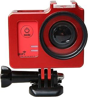 KANEED カメラ保護ケース 耐衝撃 良い散熱 SJCAM SJ5000&SJ5000X&SJ5000 Wifiスポーツアクションカメラ(ブラック)用40.5mmレンズ径&レンズ保護キャップ付きユニバーサルアルミ合金保護ケース (色 : Red)