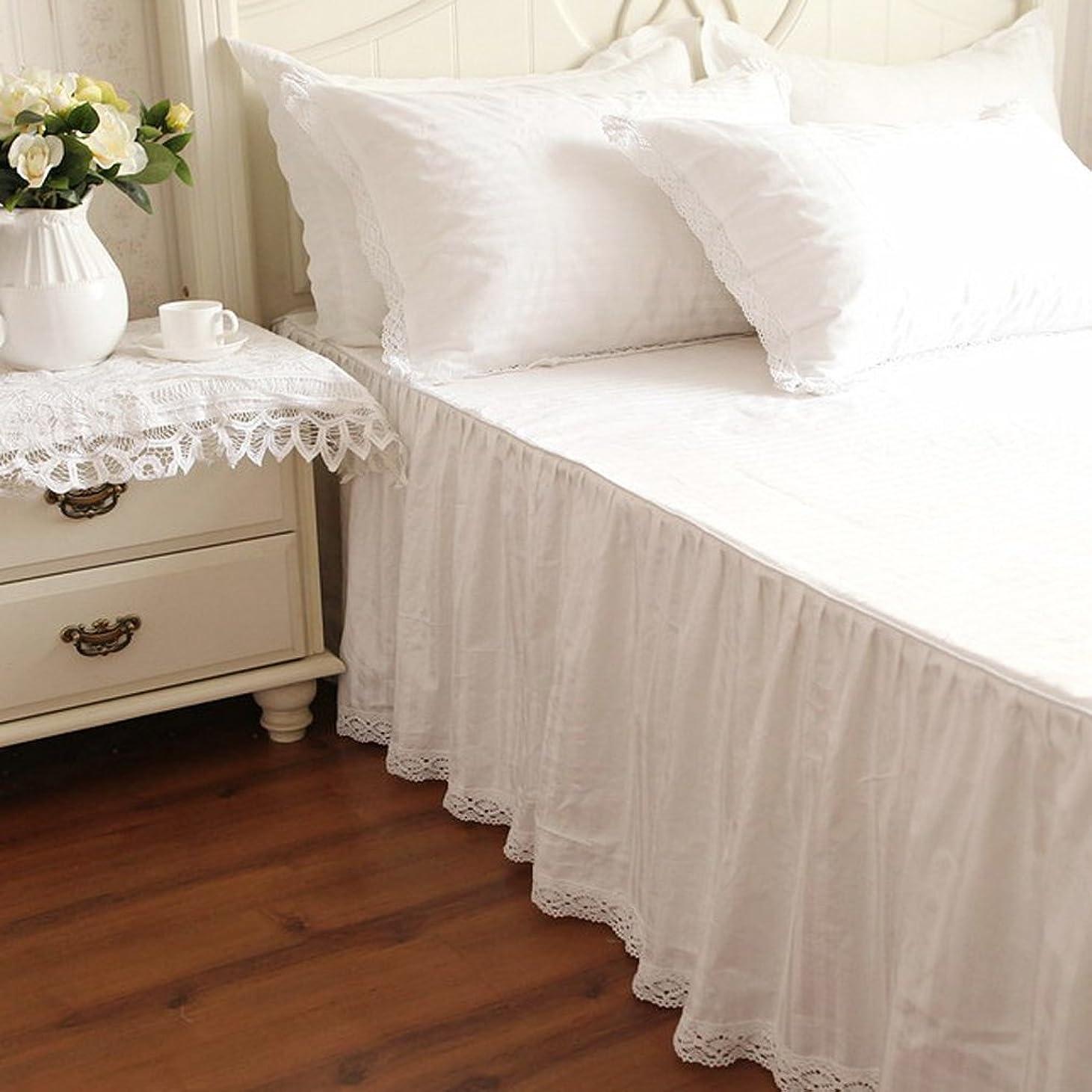 本品種女性綿100% レース付き ホワイト無地ベッドスカート シングル