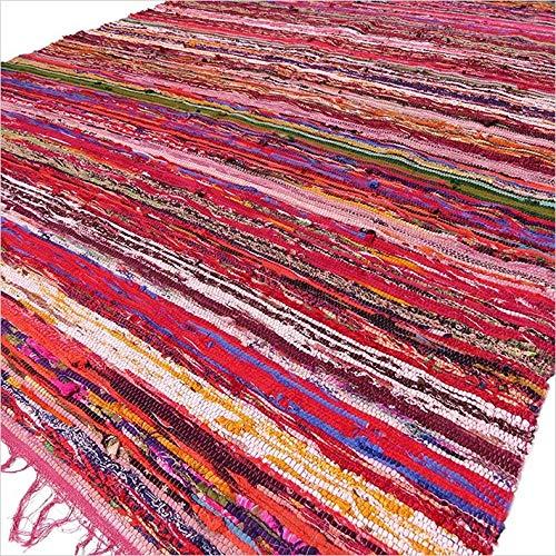 Ancient Wisdom Artisan Indian - Alfombra de trapo multicolor (150 x 90 cm), color rojo