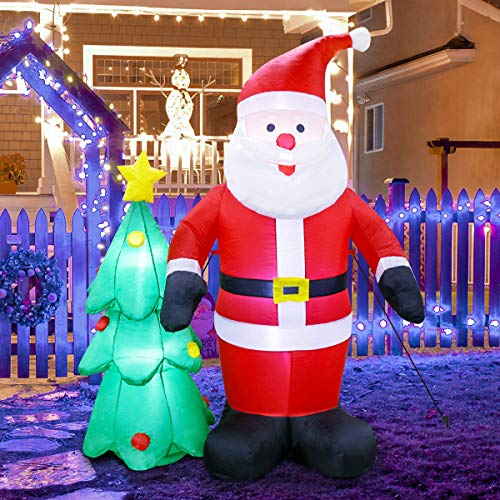 MerryXGift Christmas Inflatable Santa Claus 6ft - Xmas Airblown Inflatables Santa Blow up Decorations with Christmas Tree for Yard Outdoor Garden Lawn