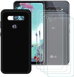 YZKJ Skal för LG Q70 Cover svart silikon skyddsskal TPU skal skal skal skal 4 stycken pansarglas skärmskydd för LG Q70 (6,...