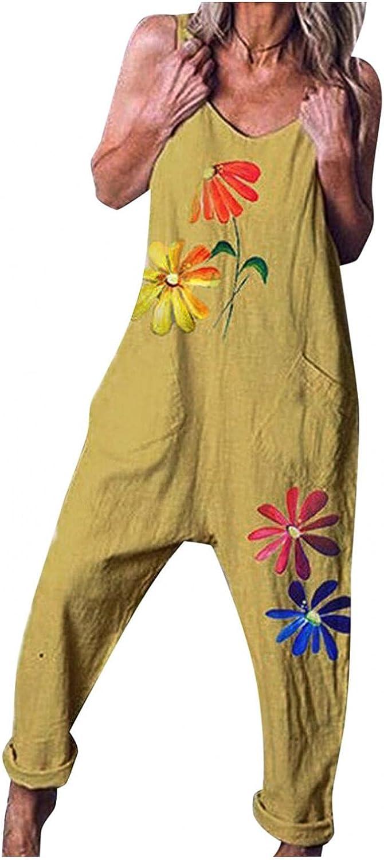 Misaky Women Casual Boho Print Pocket Summer Romper Long Playsuit Strap Button Jumpsuit