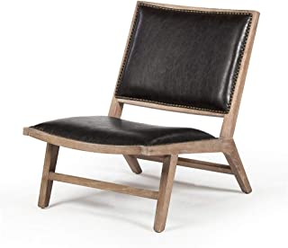 Design Tree Home Ryder Lounge Occasional Chair in Distressed Black Leather