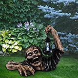 Zombie Crawling Out of Grave Led Lantern - Zombie Holding Lantern Solar Powered Garden Light Lamp,Lantern Zombie Halloween Ornaments,Walking Dead Statue for Outdoor Garden