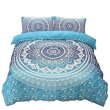 A Nice Night Indian Mandala Elephant Boho Bedding Bohemian Bedding Duvet Cover Set (Queen, Blue)