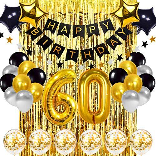 60 Geburtstag Dekoration Schwarzes Gold, 60 Geburtstag Dekoration Set, Geburtstag Party Deko mit Happy Birthday Banner Konfetti Luftballons Herz Folienballons