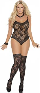 Elegant Moments Women's Lace Teddy and Matching Thigh Hi Set, Black, Plus Size