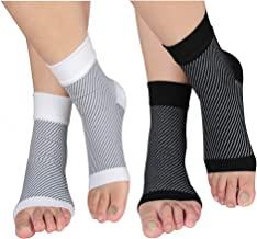 HLTPRO Plantar Fasciitis Socks with Arch and Ankle Support for Men & Women - Best Foot Compression Sleeve for Heel Pain, Achilles Tendonitis and Swelling (2 Pairs,Black and White, Small/Medium)