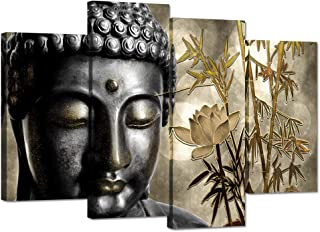 ZingArts 4 Panel Buddha Canvas Prints Wall Art Buddha Statue with Gold Lotus Bamboo Zen Painting Religon Pictures Print On Canvas Stretched and Framed for Modern Home Decor Rerdy to Hang
