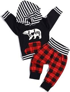 Baby Boys Girls Clothes Sweatshirt Bear Printed Long Sleeve Hoodie Tops +Plaid Striped Pants Outfits Set