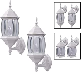Outdoor Exterior Wall Light Fixture Lantern Porch Patio Downlight/Uplight Twin Pack, White