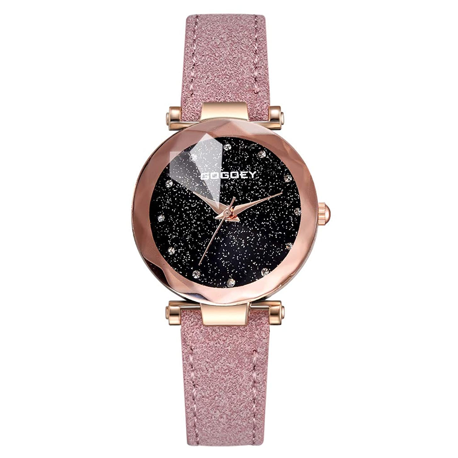 LUCAMORE Watch Womens Quartz Lady Watch Wrist Watch Creative Starlight Dial Birthday Gift with Black Leather Band