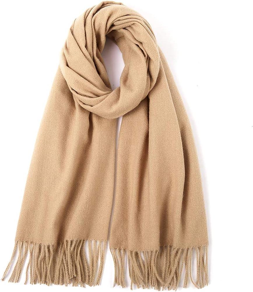 CARESEEN Dick Winter Schal Damen mit Baumwolle Einfarbig & Mehrfarbige Deckenschal Halstuch Tuch Stola Schultertuch MEHRWEG 3. Kamel
