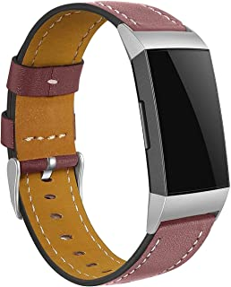 Gransho Correa de Reloj Vintage de Cuero Genuino Compatible con Fitbit Charge 4 / Charge 4 SE/Charge 3 SE/Charge 3, Ideal ...