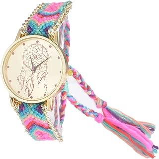 Souarts Womens Velvet Adjustable Weave Bracelet Round Wrist Watch