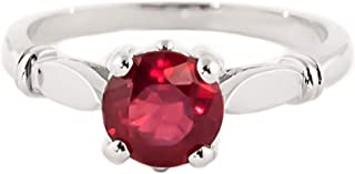 💎 14K Solid White Rose Yellow Gold Solitaire 2 Carat Vibrant Brilliant Ruby Ring