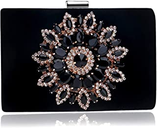 Runhuayou Ladies Europe & America Crystal Rhinestones Banquet Clutch Bag Eve Bag Bride Wedding Chain Bag Dinner Bag Red/Blue/Black Great for Casual or Many Other Occasions Such (Color : Black)