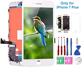 Screen Replacement for iPhone 7 Plus A1661,A1784, A1785 White, Mobkitfp Compatible with iPhone 7 Plus LCD Display 3D Touch Screen Digitizer Replacement with Free Repair Tools Kit & Tempered Glass