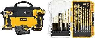 DEWALT DCK240C2 20v Lithium Drill Driver/Impact Combo Kit (1.3Ah) and Drill Bit set, 21-piece