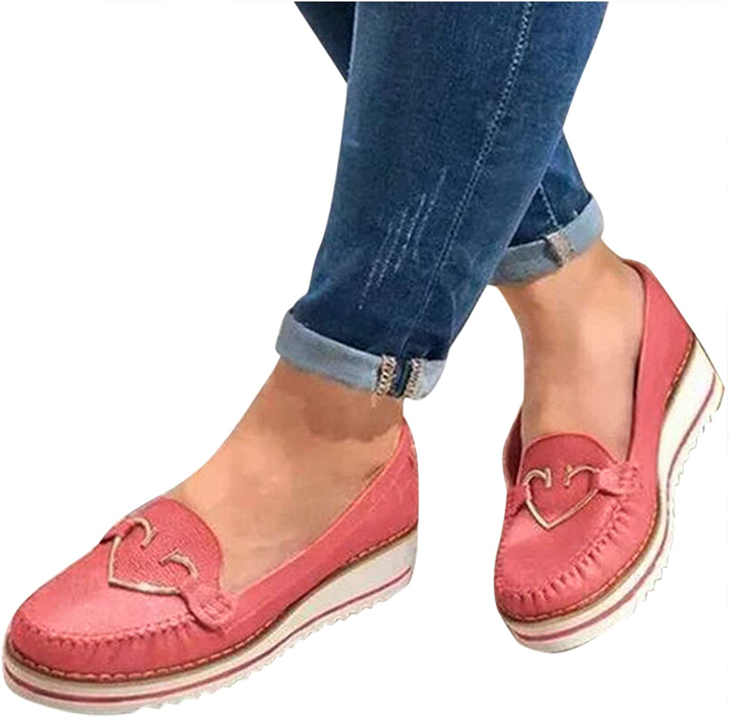 Niceast Walking Shoes for Women Fashion Round-Toe Retro Platform Slip on Work Flat Shoes Comfortable Casual Office Loafers