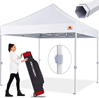 Premium Pop up Canopy Tent Outdoor Commercial Grade Instant Shelter, Bonus Wheeled Carry Bag and 4 Sand Bags, White