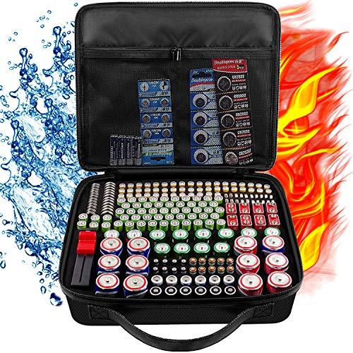 Feuerfester Batterie Aufbewahrungsbox für Batterien mit Batterietester (BT168), wasserdichter, explosionsgeschützter Behälterhalter für mehr als 250 Batterien AA AAA AAAA 9 V C D Lithium 3 V LR44