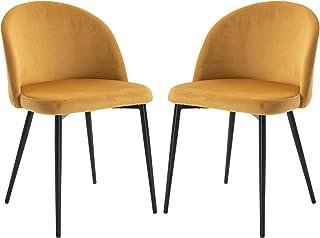 HOMCOM Chaises de Visiteur Design scandinave - Lot de 2 chaises - Pieds effilés métal Noir - Assise Dossier Ergonomique Ve...